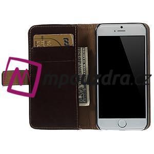 Peněženkové PU kožené pouzdro na iPhone 6, 4.7 - hnědé - 5