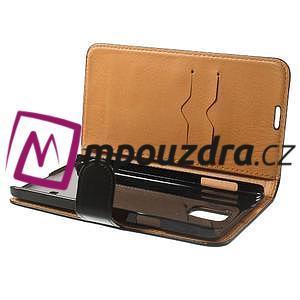 Peněženkové PU kožené pouzdro na Samsung Galaxy Note 4- černé - 5