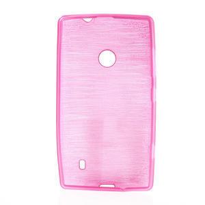 Gelové kartáčové pouzdro na Nokia Lumia 520- růžové - 5