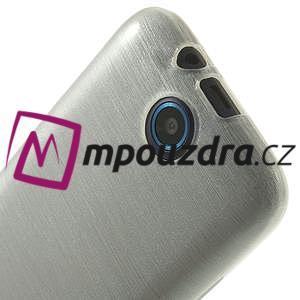 Gelové kartáčované pouzdro na HTC Desire 310- bílé - 5