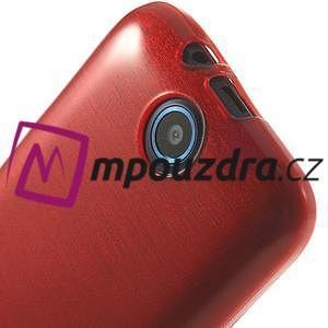 Gelové kartáčované pouzdro na HTC Desire 310- červené - 5