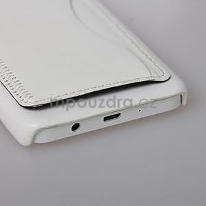 PU kožený/plastový kryt se stojánkem na Samsung Galaxy A3 - bílý - 5