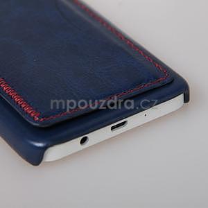 PU kožený/plastový kryt se stojánkem na Samsung Galaxy A3 - modrý - 5
