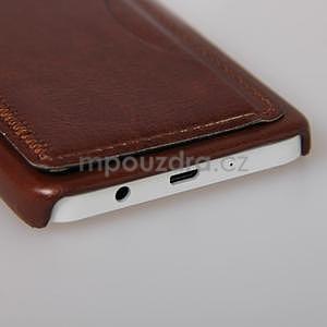 PU kožený/plastový kryt se stojánkem na Samsung Galaxy A3 - hnědý - 5