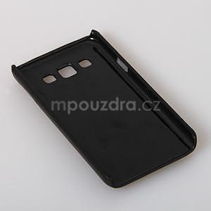 PU kožený/plastový kryt se stojánkem na Samsung Galaxy A3 - černý - 5
