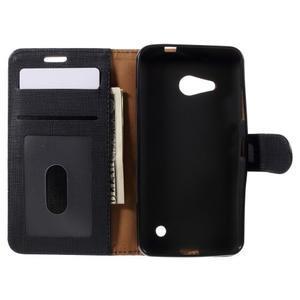 Cloth PU kožené pouzdro na mobil Microsoft Lumia 550 - černé - 5
