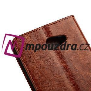 Peněženkové PU kožené pouzdro na Sony Xperia M2 D2302 - hnědé - 5