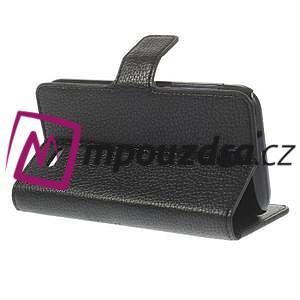 Peněženkové PU kožené pouzdro na HTC Desire 310- černé - 5