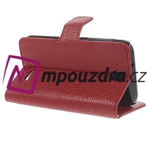 Peněženkové PU kožené pouzdro na HTC Desire 310- červené - 5
