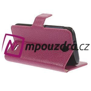 Peněženkové PU kožené pouzdro na HTC Desire 310- růžové - 5