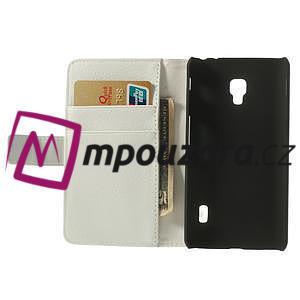Peněženkové pouzdro na LG Optimus F6 D505 - bílé - 5