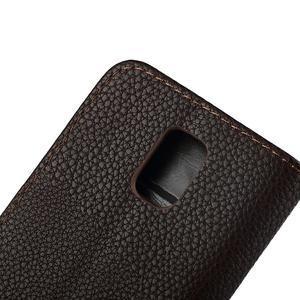 PU kožené flipové pouzdro na Samsung Galaxy S5 mini G-800- hnědé - 5