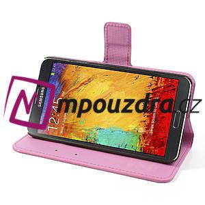 Peněženkové pouzdro na Samsung Galaxy Note 3- fiaolový květ - 5
