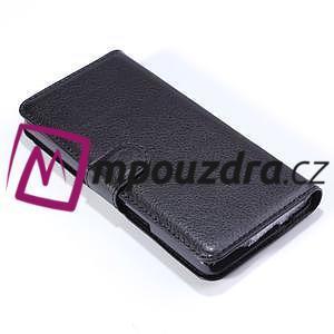 Peněženkové PU kožené pouzdro na Alcatel One Touch Idol OT-6030D- černé - 5