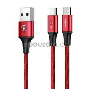 BSX nabíjecí a propojovací kabel na USB Type-C a micro USB - červený - 5
