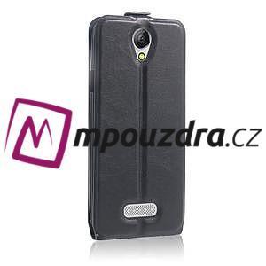 GT flipové PU kožené pouzdro na mobil Doogee X6 - černé - 5