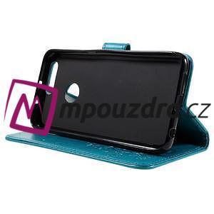 Floay PU kožené pouzdro s kamínky na mobil Honor 8 - modré - 5