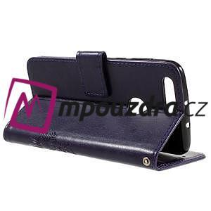 Floay PU kožené pouzdro s kamínky na mobil Honor 8 - fialové - 5