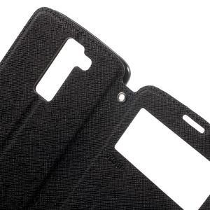 Diary PU kožené pouzdro s okýnkem na LG K8 - černé - 5