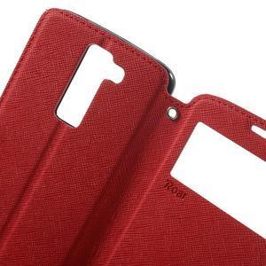 Diary PU kožené pouzdro s okýnkem na LG K8 - červené - 5