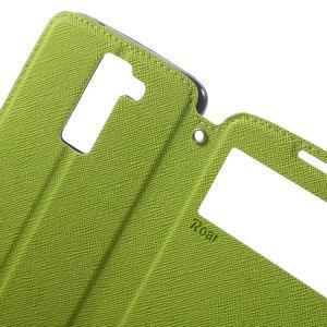 Diary PU kožené pouzdro s okýnkem na LG K8 - zelené - 5