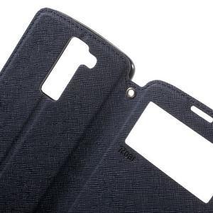 Diary PU kožené pouzdro s okýnkem na LG K8 - tmavěmodré - 5