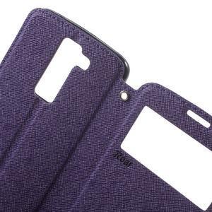 Diary PU kožené pouzdro s okýnkem na LG K8 - fialové - 5