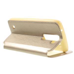 Richi PU kožené pouzdro na mobil LG K8 - zlaté - 5