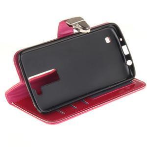 Luxusní PU kožené pouzdro s přezkou na LG K8 - rose - 5
