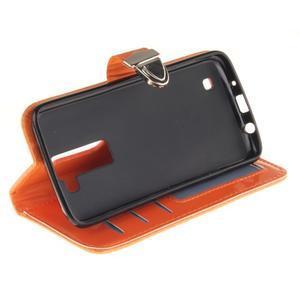 Luxusní PU kožené pouzdro s přezkou na LG K8 - oranžové - 5
