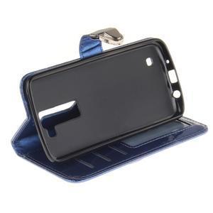 Luxusní PU kožené pouzdro s přezkou na LG K8 - modré - 5