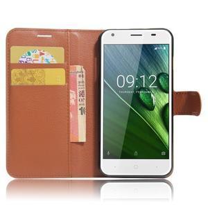 Wallet PU kožené klopové pouzdro na Acer Liquid Z6 - hnědé - 5