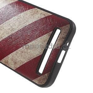 Gelový obal s imitací vroubkované kůže na Asus Zenfone 2 ZE500CL - vlajka USA - 5