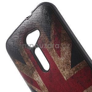 Gelový obal s imitací vroubkované kůže na Asus Zenfone 2 ZE500CL - vlajka UK - 5