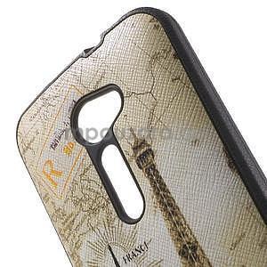 Gelový obal s imitací vroubkované kůže na Asus Zenfone 2 ZE500CL - Eiffelova věž - 5