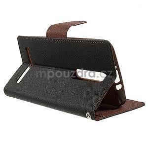 Zapínací PU kožené pouzdro na Asus Zenfone 2 ZE551ML - černé/hnědé - 5