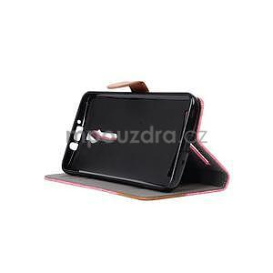 Růžové peněženkové látkové/PU kožené pouzdro pro Asus Zenfone 2 ZE551ML - 5