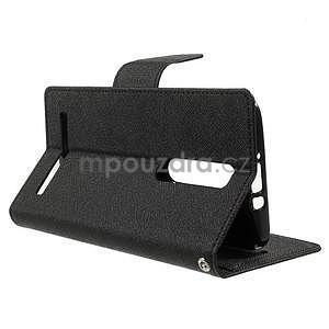 Zapínací PU kožené pouzdro na Asus Zenfone 2 ZE551ML - černé - 5