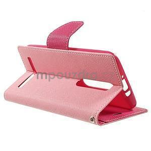 Zapínací PU kožené pouzdro na Asus Zenfone 2 ZE551ML - růžové - 5