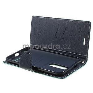 Zapínací PU kožené pouzdro na Asus Zenfone 2 ZE551ML - azurové - 5