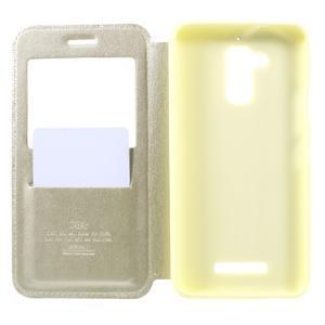 Noble Pu kožené pouzdro s okýnkem na Asus Zenfone 3 Max ZC520TL - zlaté - 5