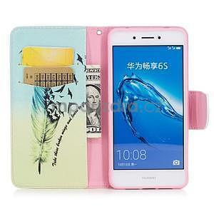 Emotive peněženkové pouzdro na mobil Huawei Nova Smart - peříčko - 5