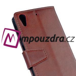 Peněženkové PU kožené pouzdro na HTC Desire 530 a Desire 630 - hnědé - 5