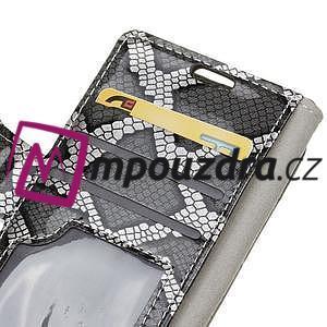 SnakeŠtýle PU kožené peňaženkové puzdro pre HTC One A9s - sivé - 5