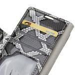 SnakeŠtýle PU kožené peňaženkové puzdro pre HTC One A9s - sivé - 5/7