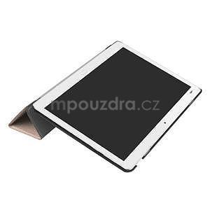 Trifold polohovatelné PU kožené pouzdro na Huawei MediaPad M3 Lite 10 - zlatorůžové - 5