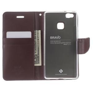 BravoDiary PU kožené pouzdro na mobil Huawei P9 Lite - vínové - 5