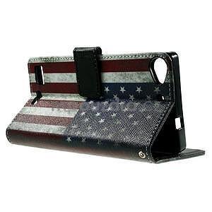 Peněženkové PU kožené pouzdro Lenovo Vibe X2 - USA vlajka - 5