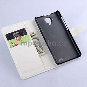 Elegantní PU kožené pouzdro na mobil Lenovo A536 - bílé - 5