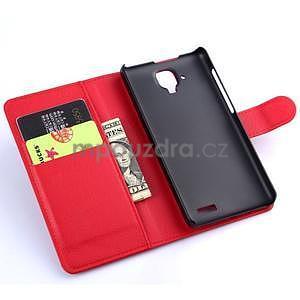 Elegantní PU kožené pouzdro na mobil Lenovo A536 - červené - 5